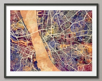 Liverpool Map, Liverpool England City Street Map, Art Print (1563)