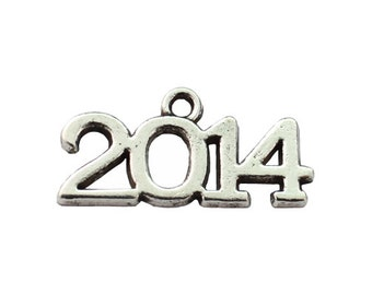 2014 Charms 6 Charms Antique Silver 25 x 10 mm  - ts625