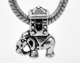 European Elephant Charm Bead Tibetan Silver 20 x 15 mm, 5 mm Large Hole Ships From The United States - ec149