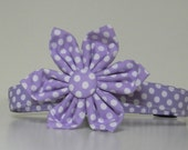 Lavender Purple Polka Dot Dog Flower Collar Wedding Accessories Easter Collar Made to Order
