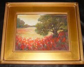 CONNIE GLASGOW Oil Painting, Floral Landscape Art, INDIANA Artist Custom Framed