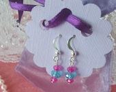 Pink and Turquioise Crystal Dangle Earrings Toddler Earrings