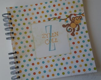 Baby Book |  Baby Memory Album | Monkey Polka dots Wire Bound Baby Memory Book
