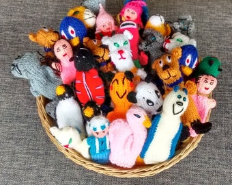 handknitted  finger puppets-25 assorted puppets