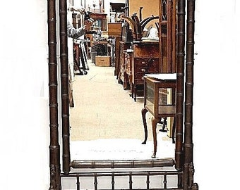 French Faux Bamboo Cheval Mirror - Victorian style late 1800's