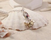 REDUCED Abundant Hearts ~ Faceted Crystal Pendant Necklace ~ Feminine Aurora Borealis Finish ~ 22 Inch Chain ~ OOAK