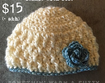 Newborn Crocheted Beanie with Flower