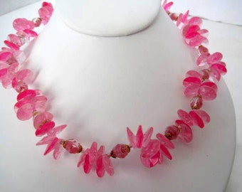 Pink Flower Necklace Cluster West Germany Lucite