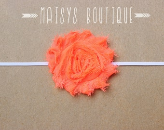 75% Off- Neon Orange Shabby Flower Headband/ Newborn Headband/ Baby Headband/ Photo Prop