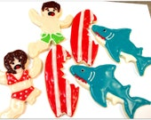 Shark Cookies Surfboard Iced Sugar Cookies Swimmers Beach Theme Surf Party Theme Birthday Favor