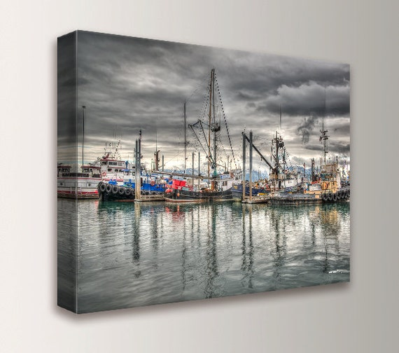 "Photography, Canvas Print, Ships on the Water, Nautical Art Print, Wall Decor "" Harbor 2 """