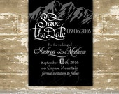 Mountain Save the Date Card / Mountain Wedding / Country Wedding / Modern Invitation / Modern Save the Date card - Color Customizable!