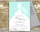 Bridal Silhouette Elegant Bridal Shower Invitation - with Color Options and Glitter Upgrades available!