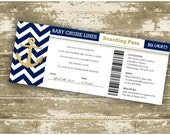 Baby Shower Invitation / Print Your Own / DIY / Gold Foil Baby Shower Invitation / Boarding Pass Invitation / Cruise Ship Ticket