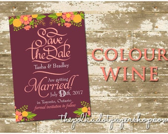 Save the Date card / Floral save the date / Mixed Typography / Modern Invitation / Modern Save the Date card - Color Customizable!