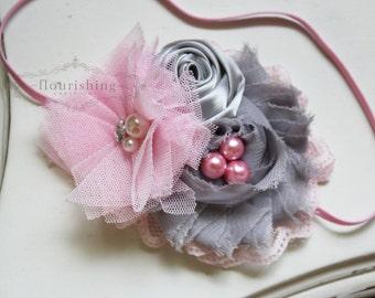 Grey and Pink headband, grey headbands, newborn headbands, flower headbands, photography prop