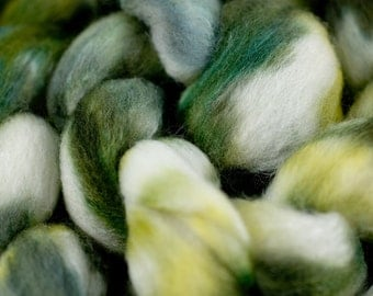 Spring Green Merino/tussah silk blend.  4oz Hand Dyed Combed Top.