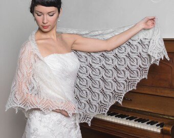 WEDDING SHAWL bridal shrug color cream or natural white lace pattern leaf very feminine
