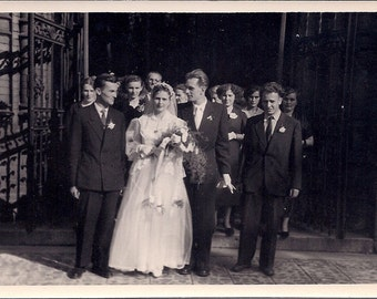 Vintage Wedding Photo - The Bride and Groom Happily Married - Poland 1950s - Real Photograph Black & White