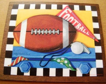 FOOTBALL  Ball Sports Vintage Art Wall Room Wall Decor Art Plaque Sign Picture