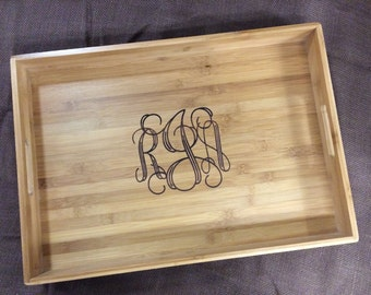 Monogrammed Bamboo Serving Tray, Customized Bamboo Tray, Personalized Bamboo Tray