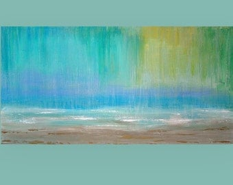 Abstract Painting Acrylic Art,Fine Painting,Seascape Painting,Acrylic on Canvas by Ora Birenbaum, Waterlily 6 30X60X1.5""