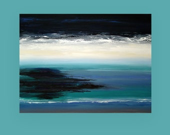 """Art and Collectibles Art Painting Acrylic Abstract Beach Seascape on Canvas by Ora Birenbaum Titled: Midnight Blue 4 30x40x1.5"""""""