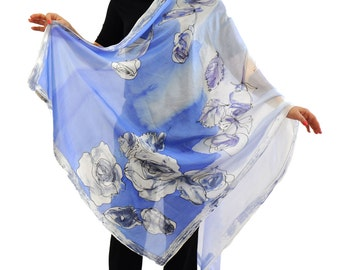 Hand painted silk Shawl Scarf/Blue roses/Painting Silk Shawl/Long floral shawl/Woman silk scarf/Painting by hand flowers/Shawl  by Gabyga