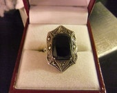 SALE Vintage signed Coro sterling silver marcasite black onyx ring size 5-6
