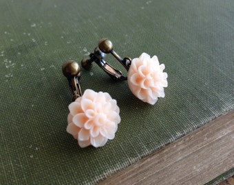 Peach Dahlia Flower Clip Earring, Screw Back Clip On Earrings