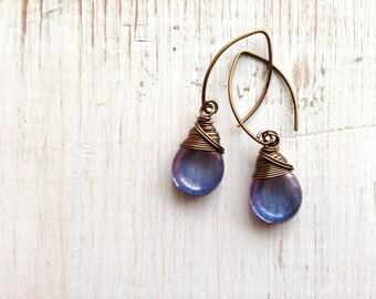 Wire Wrapped Amethyst Teardrop Earrings, Antique Brass Ear wires