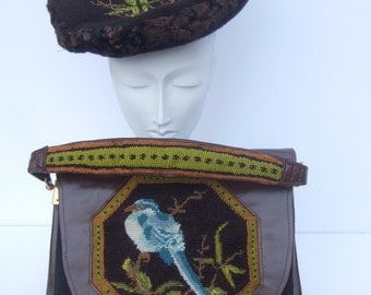 Rare Needlepoint Bird Handbag & Hat Ensemble c 1960