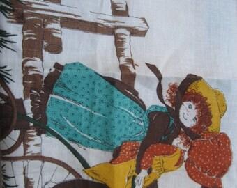 Vintage Holly Hobbie Linen Tea Towel