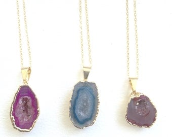 Agate Druzy Necklace 14k Gold Electroplated Pink Blue Red