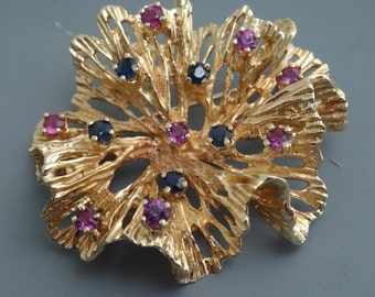 Vintage Large 14k yellow gold Pin / Brooch with ruby's and sapphires Mid Century Modern