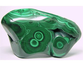 Dark and Light Green Malachite Polished Semiprecious Stone, Bullseye Variegated Banded Malachite, Gemstone Carving