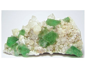 Bright Green Fluorite Crystal Cluster with Quartz, Collector's Choice Mineral Specimen from South Africa