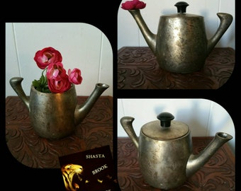 70s Danish Mid Century Small Pewter Teapot - Tarnished Metal Teapot - Pewter Tea Kettle - Small Vase - Habitat - Made in India