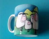 NEW Art Sheep Mug & Coaster Sets from an original drawing designed in Wales UK Can personalise