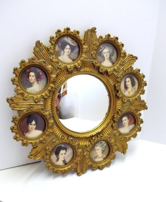 Rare Cameo Creation Ornate Antique Gold Framed Wall Mirror
