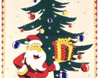 Tea Towel Vintage Father Christmas Festive Kitsch