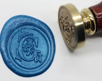 "S1149 Alphabet Letter "" G "" Wax Seal Stamp , Sealing wax stamp, wax stamp, sealing stamp Flower Sytle"