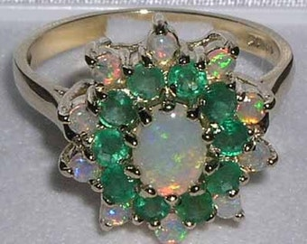 English 18K Yellow Gold Natural Opal & Emerald Cluster Floral Ring, October May birthstone -Customizable