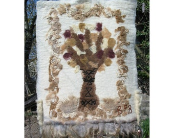 Felt Tapestry Art,The Tree of Life,Needle Felt Wall Picture,Felt Wall Rug,Felt Picture,Steps in Hystory,The Eagle of Khan Asparuh