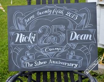 Custom Personalized Wedding Anniversary Chalkboard Sign - Anniversary Gift