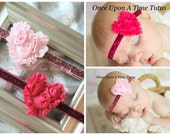 Set Of Two Valentines Day Pink Glitter Heart Headbands - Toddler Infant or Child Size Hair Bow - Sparkle Bling Newborn Photo Prop