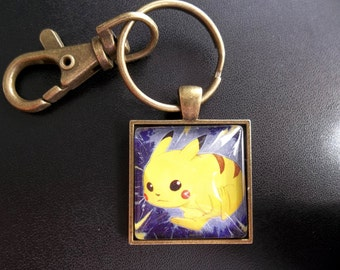 Pikachu Jungle Square Glass pendant made from Trading Cards