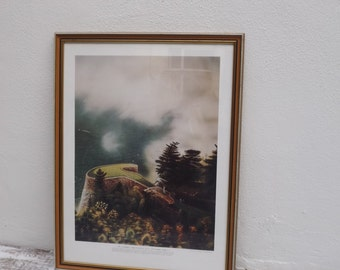 Vintage Home Decor/ Loyal H Chapman/ Infamous Golf Hole Series/No. 2 Smokey Mountains Golf & Country Club/ Vintage Frame/ Golf/ Wall Hanging