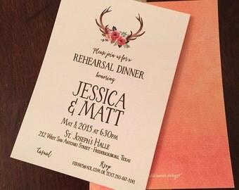 Invitation, Antlers {wedding shower or rehearsal dinner}