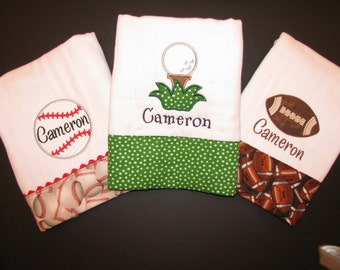 Set of 3 sports burp cloths; appliqued, personalized burp cloths; baseball, golf, football